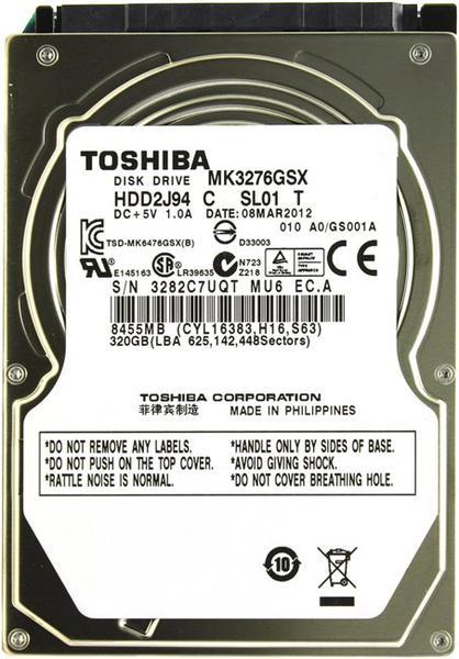 """Внутрішній жорсткий диск Toshiba 320ГБ 5400 обертів в хвилину 8МБ 2.5"""" SATA II MK3276GSX, мініатюра №2"""