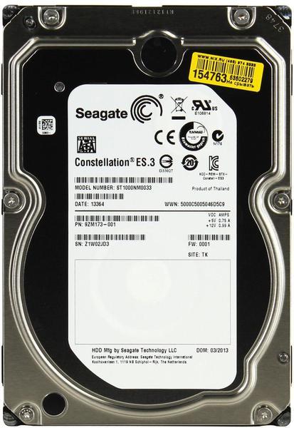 """Внутрішній жорсткий диск Seagate Constellation ES.3 1ТБ 7200 обертів в хвилину 128МБ 3.5"""" SATA III ST1000NM0033, мініатюра №1"""