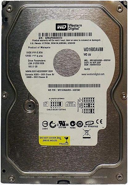 """Внутрішній жорсткий диск Western Digital 160ГБ 7200 обертів в хвилину 2МБ 3.5"""" IDE WD1600AVBB, мініатюра №1"""