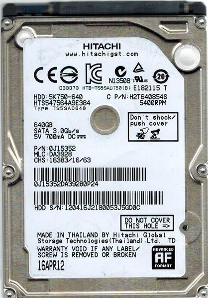 """Внутрішній жорсткий диск Hitachi Travelstar 5K750 640ГБ 5400 обертів в хвилину 8МБ 2.5"""" SATA II HTS547564A9E384, мініатюра №1"""