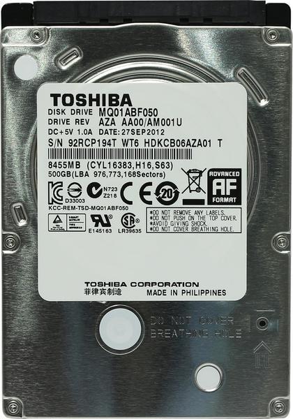 """Внутрішній жорсткий диск Toshiba 500ГБ 5400 обертів в хвилину 8МБ 2.5"""" SATA III MQ01ABF050, мініатюра №2"""