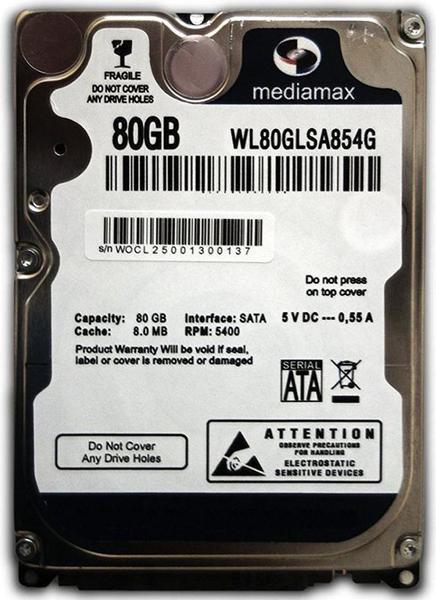 """Внутрішній жорсткий диск Mediamax 80ГБ 5400 обертів в хвилину 8МБ 2.5"""" SATA II WL80GLSA854G, мініатюра №1"""