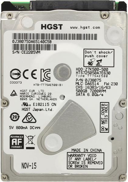 """Внутрішній жорсткий диск WDC Hitachi HGST 2.5"""" 500GB HTS725050A7E630, мініатюра №2"""