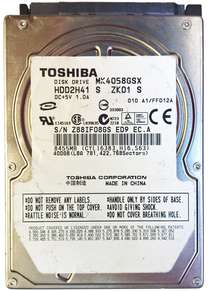 """Внутрішній жорсткий диск Toshiba 400ГБ 5400 обертів в хвилину 8МБ 2.5"""" SATA II MK4058GSX, мініатюра №1"""