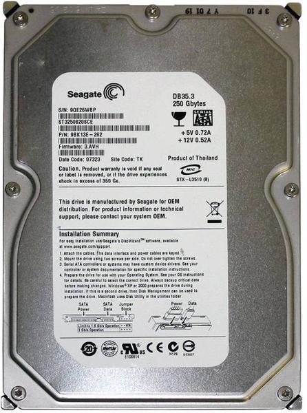 """Внутрішній жорсткий диск Seagate DB35 Series 250ГБ 7200 обертів в хвилину 8МБ 3.5"""" SATA II ST3250820SCE, мініатюра №1"""