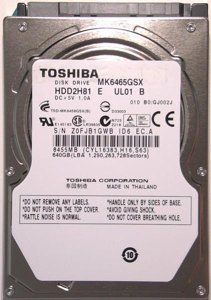 """Внутрішній жорсткий диск Toshiba 640ГБ 5400 обертів в хвилину 8МБ 2.5"""" SATA II MK6465GSX, мініатюра №1"""
