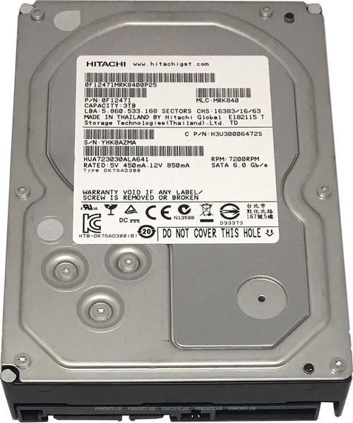 """Внутрішній жорсткий диск Hitachi Ultrastar 3TБ 7200 обертів в хвилину 64МБ 3.5"""" SATA ІІІ HUS724030ALA640, мініатюра №1"""