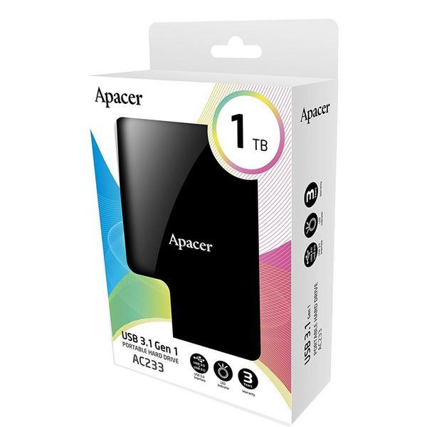 """Зовнішній жорсткий диск Apacer 1ТБ 2.5"""" USB 3.0 чорний AP1TBAC233B-S, мініатюра №2"""