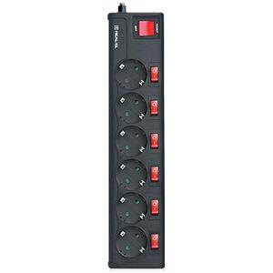 Сетевой фильтр REAL-EL RS-6 EXTRA 3m, black (EL122300002)