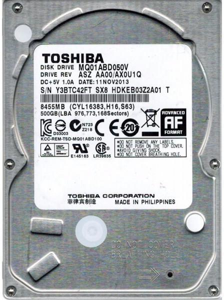 """Внутрішній жорсткий диск Toshiba 500ГБ 5400 обертів в хвилину 8МБ 2.5"""" SATA II MQ01ABD050V, мініатюра №4"""