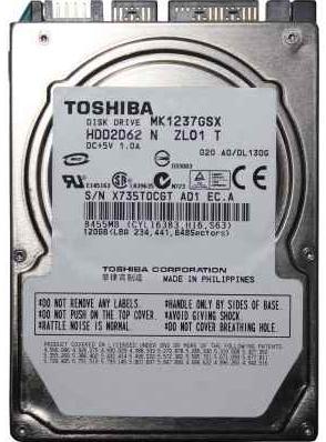 """Внутрішній жорсткий диск Toshiba 120ГБ 5400 обертів в хвилину 8МБ 2.5"""" SATA II MK1237GSX, мініатюра №3"""