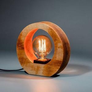 Деревянный Настольный loft Светильник Ночник из Ольхи с лампой накаливания Эдисона HandMade Ручная работа